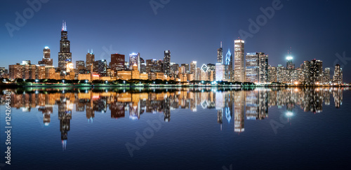Poster Chicago Chicago Night Skyline