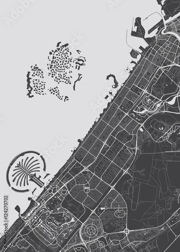 Vector detailed map Dubai Wallpaper Mural