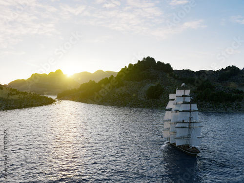 Photo Stands Ship Ship sailing in rough seas close up on sunset background