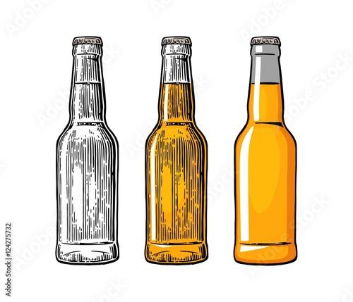 Fotomural Beer bottle. Color engraving and flat vector illustration