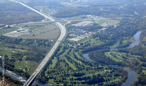 Photo aerial view of the Kitchener Waterloo region in Ontario Canada