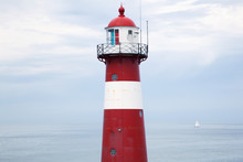 Red And White Lighthouse Near Westkapelle, Zealand, Netherlands