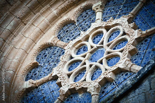 Low angle view of architectural detail in the santes creus monastery part of the cistercian route;Tarragona catalonia spain