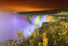 Horseshoe Falls Lit Up At Night;Niagara Falls Ontario Canada