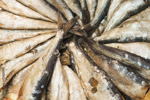 Salted fish on display for sale in the mercado central;Valencia spain