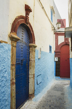 Colourful Painted Doors On Houses In Old Town;Rabat Morocco