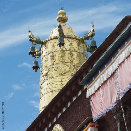 Gold tower at the sera monastery;Lhana xizang china