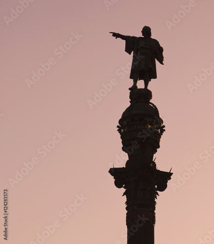 Monument to christopher columbus;Barcelona spain