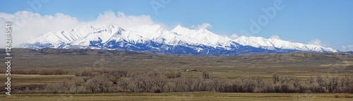 Mountains with blue sky and pastures near bozeman;Montana united states of america