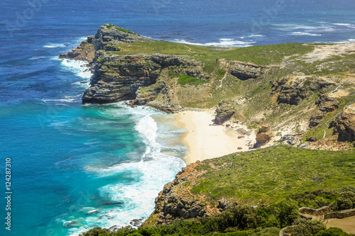 Fényképezés  Dias Beach view from the cliffs of Cape Point in Cape of Good Hope, South Africa