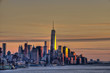 Sunset over Lower Manhattan and the World Trade Centre; New York City, New York, United States of America