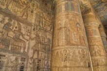 Columns In Second Court, Medinet Habu (Mortuary Temple Of Ramses III), West Bank; Luxor, Egypt