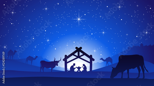 Photo  Christmas Nativity Scene with Manger Silhouette