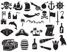 Pirates Icons Set (sabre, Skul...