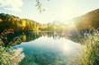 Leinwandbild Motiv lake in forest, Croatia, Plitvice