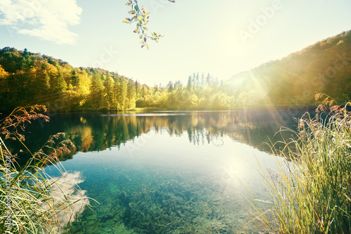 Photo Stands Lake lake in forest, Croatia, Plitvice