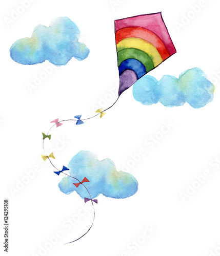 Watercolor print with rainbow air kite and clouds Canvas Print