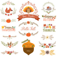 Autumn And Thanksgiving Set With Turkey, Squirrel, Hedgehog, Fall Leaves, Floral Motifs, Pumpkin, Acorn, Wreath, Laurels And Banner.