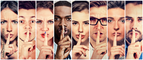 Fototapety, obrazy: Group of people men women with finger on lips gesture