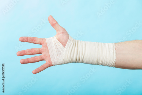 Male hand in bandage. Wallpaper Mural