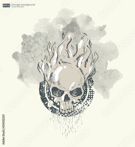 Türaufkleber Aquarell Schädel Background for poster in grunge style with skull in flame. Grunge print for t-shirt. Abstract texture background.