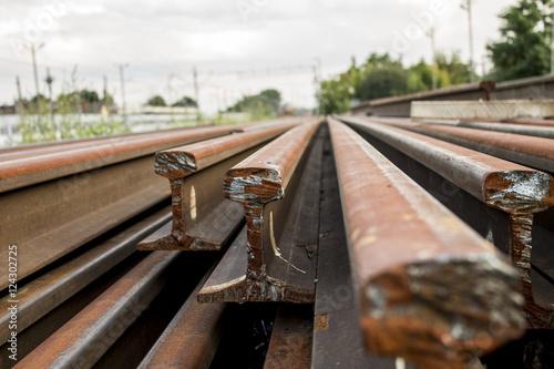 Poster Voies ferrées Rusty rails stack