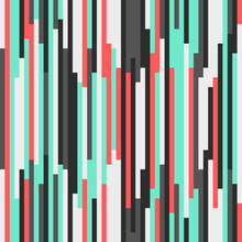 Geometric Abstract Seamless Pattern. Modern Texture For Wrapping Paper And Fabric. Bright Colorful Vertical Stripes. Vector Fashion Background