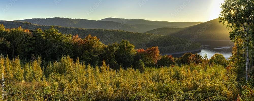 Fototapety, obrazy: Catskills Reservoir Autumn Sunset Panorama