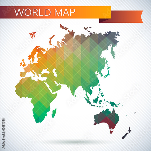 Eastern Hemisphere Globe. Bright Vector Map Of The World. Asia, Africa,  Europe