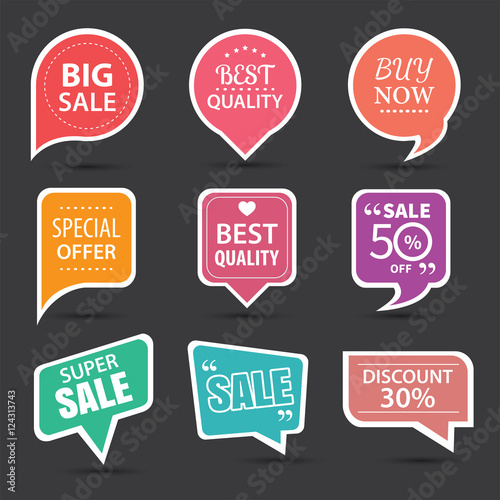 Fotografie, Obraz  Set of commercial sale stickers, elements badges and labels