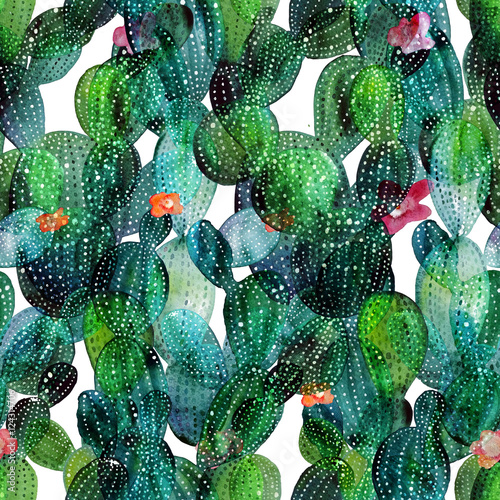 Cotton fabric Cactus pattern in watercolor style