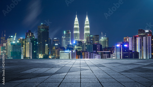 Photo Stands Kuala Lumpur Night view of Kuala Lumpur city with empty floor