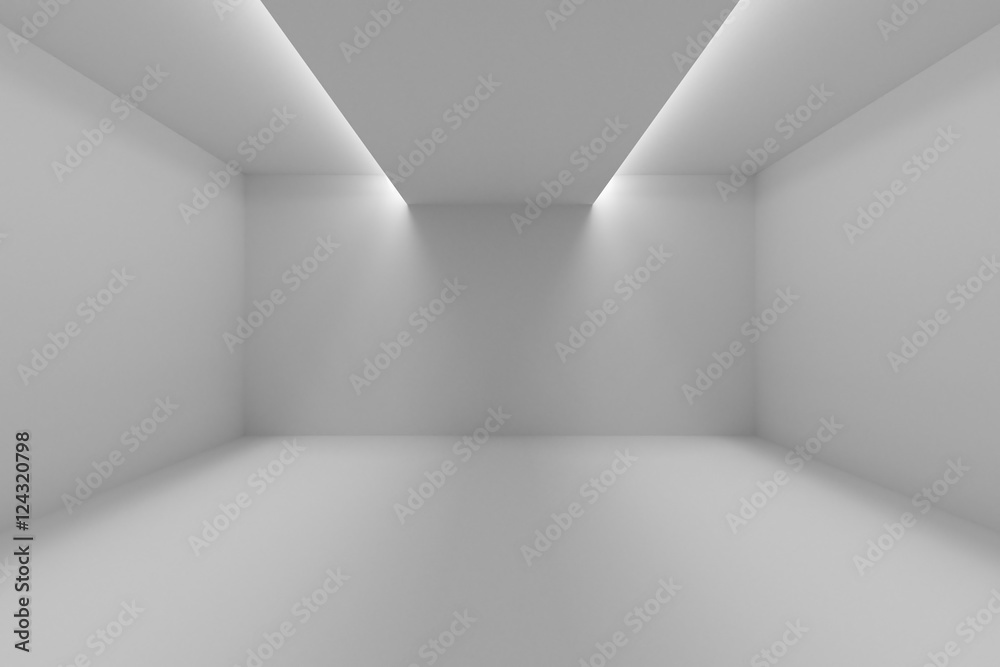 Fototapety, obrazy: Empty room with white walls and lights in ceiling