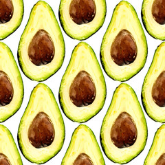 Naklejka Beautiful avocado repeated pattern, consisted of halves of a fruit with pit. Vector illustration.