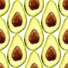 Fototapeta samoprzylepna Beautiful avocado repeated pattern, consisted of halves of a fruit with pit. Vector illustration.