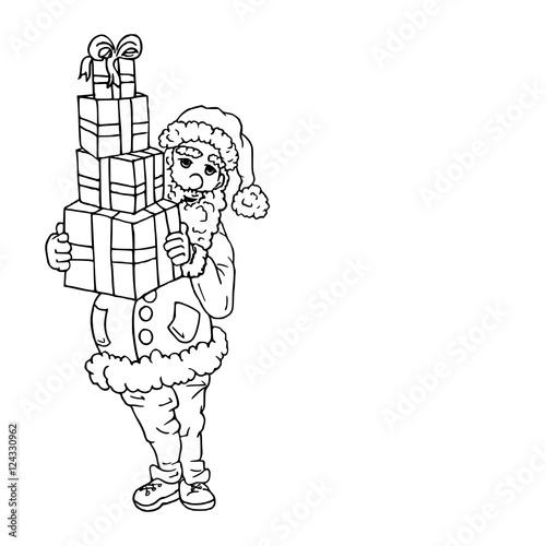 Kleurplaat Van De Kerstman Met Cadeautjes Buy This Stock