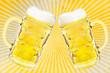 canvas print picture - 2 Bierglaeser auf Retrosteifen Hintergrund      2 Beer glasses o
