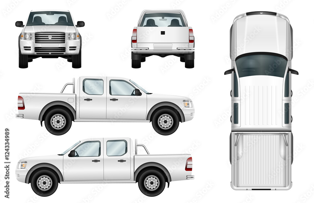 Fototapety, obrazy: Pickup truck vector template isolated car on white background. All elements in groups on separate layers.