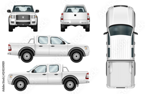 Obraz Pickup truck vector template isolated car on white background. All elements in groups on separate layers. - fototapety do salonu