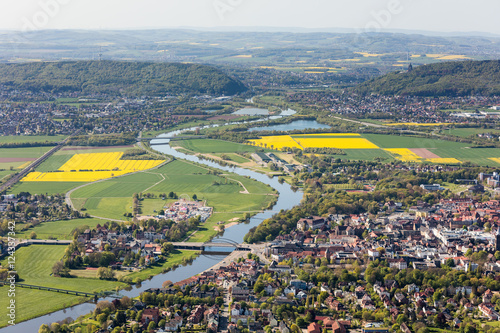 Canvas Prints Olive Weser und Porta Westfalica