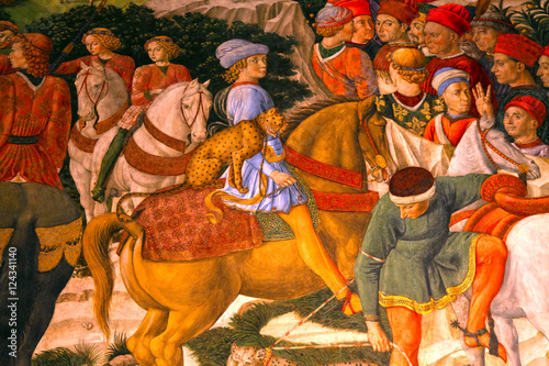 Poster Artistique Fragment of medieval fresco in Palazzo Medici Riccardi, Florence, Italy