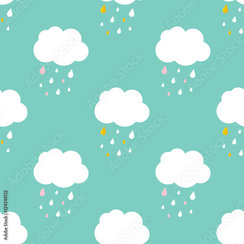 Flat design cute sky with rainy clouds seamless pattern background.