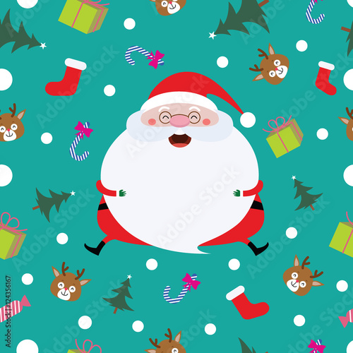 Cotton fabric Pattern Seamless, background with Christmas Santa, vector cartoon