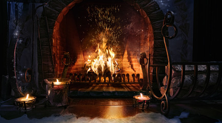 Magic Christmas fireplace. Magical background.