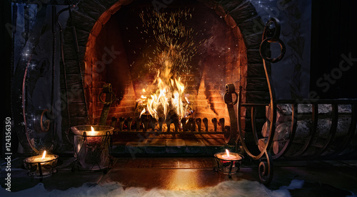 Fotomural Magic Christmas fireplace. Magical background.