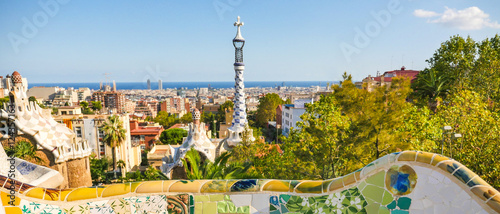 Deurstickers Barcelona Park Guell by architect Antoni Gaudi, Barcelona, Spain