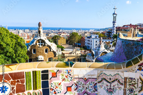Photo sur Toile Europe Centrale Park Guell by architect Antoni Gaudi, Barcelona, Spain