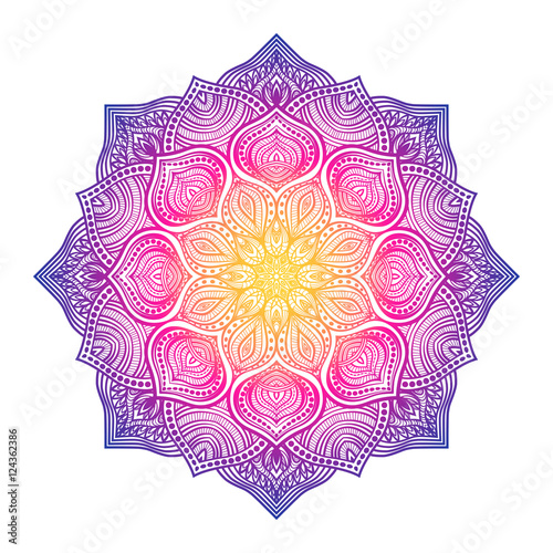 Valokuvatapetti floral circular ornament