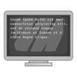 Virus inscription on monitor icon. Gray monochrome illustration of virus inscription on monitor vector icon for web
