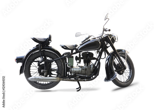 Fotobehang Fiets Old black motorcycle isolated on white